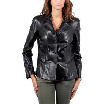 Vêtements Femme Vestes en cuir / synthétiques Giorgio Irene Waxy Noir Noir