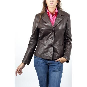 Vestes en cuir / synthétiques Giorgio Irene Froissée Marron