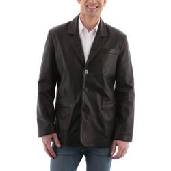 Vêtements Homme Vestes en cuir / synthétiques Giorgio Gary Noir Noir