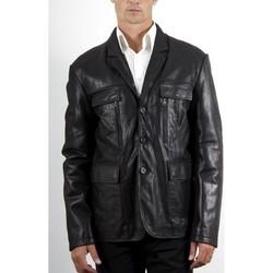 Vêtements Homme Vestes en cuir / synthétiques Mac Douglas Ceronne Vachette Noir Noir