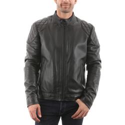 Vêtements Homme Vestes en cuir / synthétiques Giorgio Kevin Noir Noir