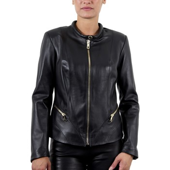 Vêtements Femme Vestes en cuir / synthétiques Giorgio Ansia Waxy Noir (Zip Or) Noir