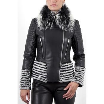 Vêtements Femme Vestes en cuir / synthétiques Giorgio Khaki Noir Noir
