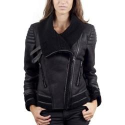 Vêtements Femme Vestes en cuir / synthétiques Giorgio Tina Noir Noir
