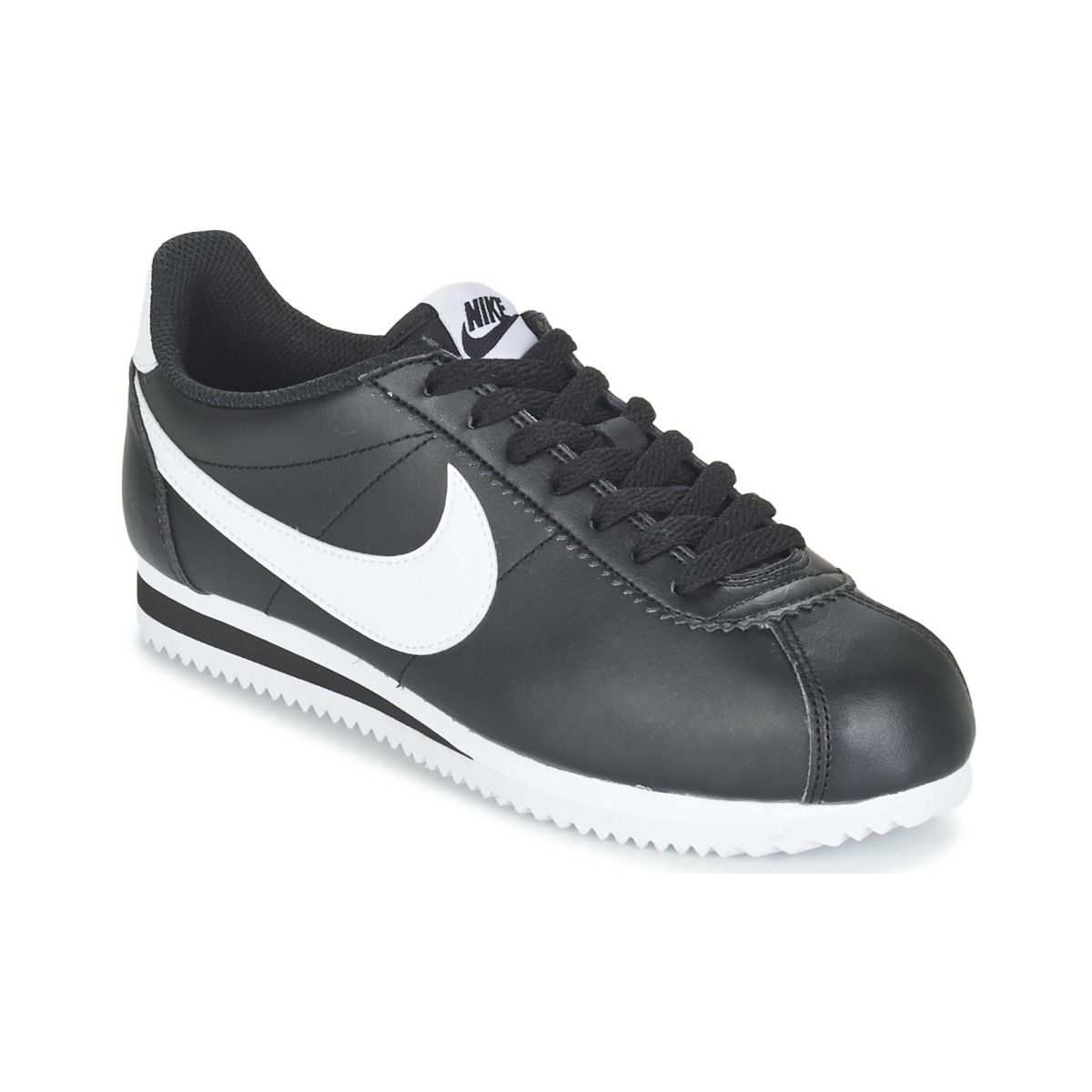 nike classic cortez leather w noir blanc livraison gratuite avec chaussures. Black Bedroom Furniture Sets. Home Design Ideas