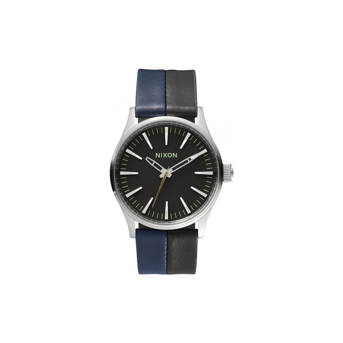 Nixon Montres  Sentry 38 Leather - Black / Navy / Black Noir