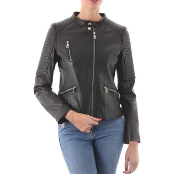 Vêtements Femme Vestes en cuir / synthétiques Intuitions Paris AF 70-1212 P Noir (sans raccoon) Noir