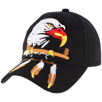 Accessoires textile Homme Casquettes Divers Casquette Biker Noire Tête d'Aigle USA et Plumes Noir