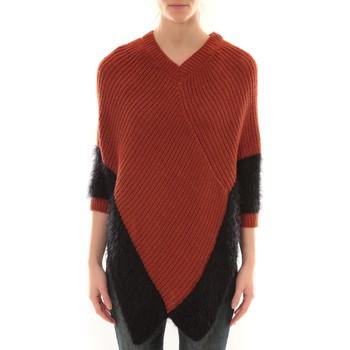 Vêtements Femme Gilets / Cardigans Barcelona Moda Poncho Bicolore Orange