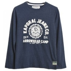 Vêtements Garçon T-shirts manches longues Kaporal T-Shirt garçon manches longues  BORS Navy Mel Bleu
