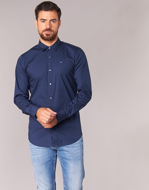 Vêtements Homme Chemises manches longues Tommy Jeans TJM Original Stretch Shirt Marine