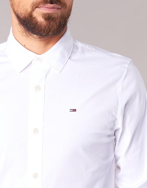 Jeans Chemises Blanc Kantermi Homme Longues Manches Tommy PZOXTuki