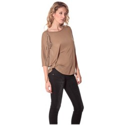 T-shirts manches longues Rich & Royal Tee-shirt Plumes 13q555 Camel