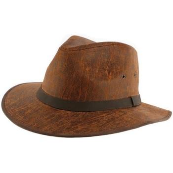 Accessoires textile Homme Chapeaux Aussie Apparel Chapeau Cuir Camel Flinder par Marron