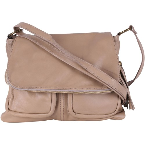 Sacs Femme Sacs Bandoulière Oh My Bag Sac à Main cuir bandoulière femme - Modèle Avril taupe clair TAUPE CLAIR