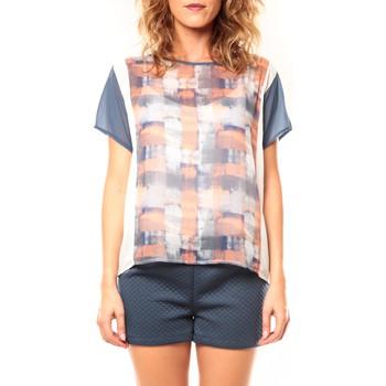 Vêtements Femme T-shirts manches courtes Coquelicot T-shirt CQTW14321 Blanc/Bleu Bleu