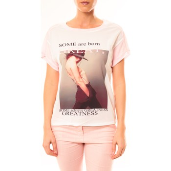 Vêtements Femme T-shirts manches courtes By La Vitrine Tee-shirt B005 Blanc/Rose Rose