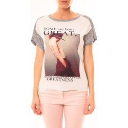 T-shirts manches courtes By La Vitrine Tee-shirt B005 Blanc/Gris
