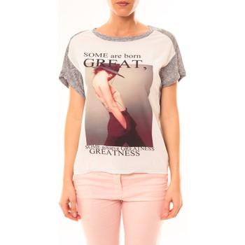 Vêtements Femme T-shirts manches courtes By La Vitrine Tee-shirt B005 Blanc/Gris Gris