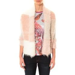 Vêtements Femme Gilets / Cardigans De Fil En Aiguille Veste Lola blanc et rose Rose