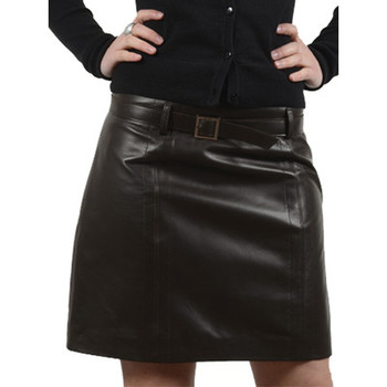 Vêtements Femme Jupes Giorgio Cuirs Jupe en cuir agneau ref_gio27924-marron Marron