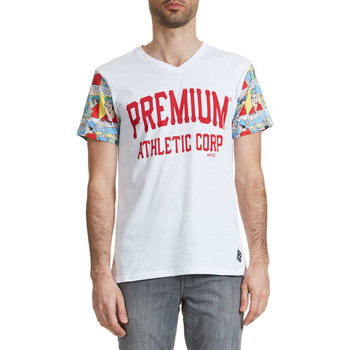 T-shirts manches courtes American College Tee Shirt Mc Bd Preums M  Blanc