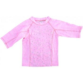 Vêtements Fille T-shirts manches longues Princesse Ilou Tee shirt anti UV rose chiné à étoiles argentée Rose
