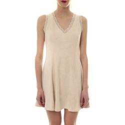 Vêtements Femme Robes courtes Vera & Lucy Robe suedine Beige R 6229 Beige