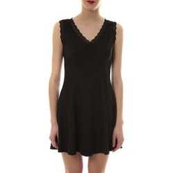Vêtements Femme Robes courtes Vera & Lucy Robe suedine Noir R 6229 Noir