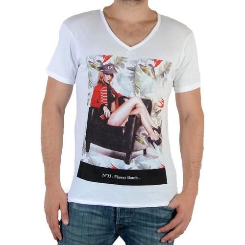 Shirt Manches Tee shirts M Eleven N°33 Homme Courtes Blanc Paris T 5cAS34RjLq