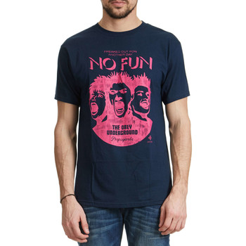 T-shirts manches courtes Obey Tee Shirt  No Fun Marine Homme