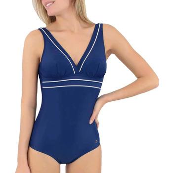 Vêtements Femme Maillots de bain 1 pièce Janine Robin Maillot bicolore sans armatures  Java bleu marine Bleu / Turquoise