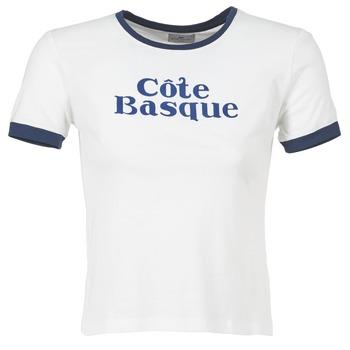 Vêtements Femme T-shirts manches courtes Loreak Mendian COTE BASQUE Ecru / Marine