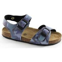Chaussures Garçon Sandales et Nu-pieds Grunland Grünland AFRE SB0412 20/28 étoiles bleues bébé Birk boucles Blu