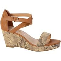 Chaussures Femme Sandales et Nu-pieds The Divine Factory Sandales Compensées TDF2501 Serpent Camel Marron