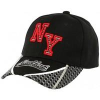 Accessoires textile Homme Casquettes Hip Hop Honour Casquette Baseball NY Noire et Rouge Stan Noir