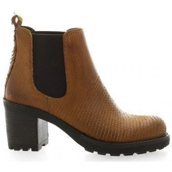 Chaussures Femme Bottines Pao Boots cuir python Cognac