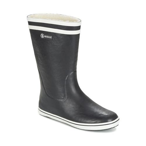 Chaussures Femme Bottes de pluie Aigle MALOUINE FUR Noir