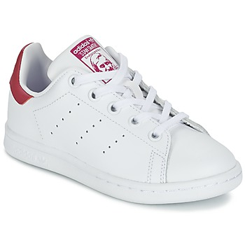 7c8763bd850 Chaussures Fille Baskets basses adidas Originals STAN SMITH EL C Blanc    rose