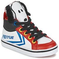 Chaussures Enfant Baskets montantes Feiyue DELTA MID PEANUTS Blanc / Noir / Rouge