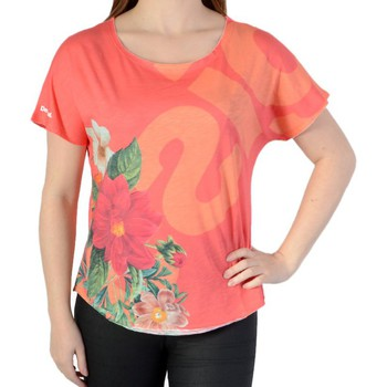 Vêtements Femme T-shirts manches courtes Desigual Tee Shirt Rose Rose