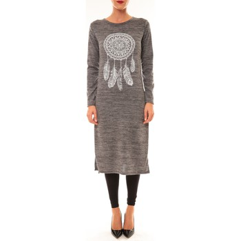 Vêtements Femme Robes longues By La Vitrine Robe Plume gris Gris