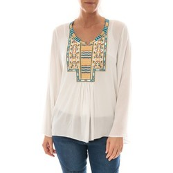 Vêtements Femme Tops / Blouses Barcelona Moda Top Pink Blanc Broderie Bleu Blanc