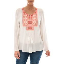 Vêtements Femme Tops / Blouses Barcelona Moda Top Pink Blanc Broderie Corail Blanc
