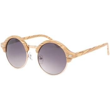 Montres & Bijoux Femme Lunettes de soleil Eye Wear Lunette de soleil ronde imitation Bois Jude Marron