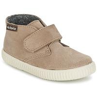 Chaussures Enfant Baskets montantes Victoria SAFARI SERRAJE VELCRO Taupe