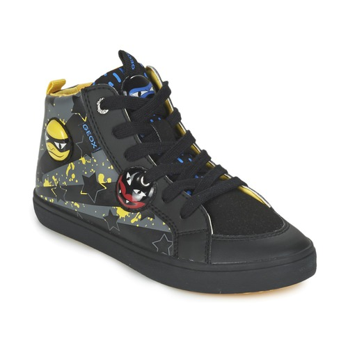 Chaussures Garçon Baskets montantes Geox KIWI BOY Noir / Jaune