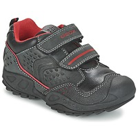 Chaussures Garçon Baskets basses Geox NEW SAVAGE BOY Noir / Rouge