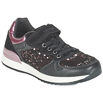 Chaussures Fille Baskets basses Geox MAISIE GIRL Noir / Rose