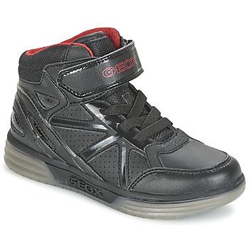 Chaussures Garçon Baskets montantes Geox ARGONAT BOY Noir / Rouge